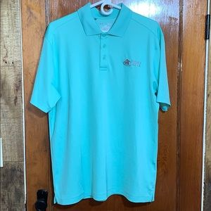 Under Armour Teal Loose Fit Gold Polo HeatGear L